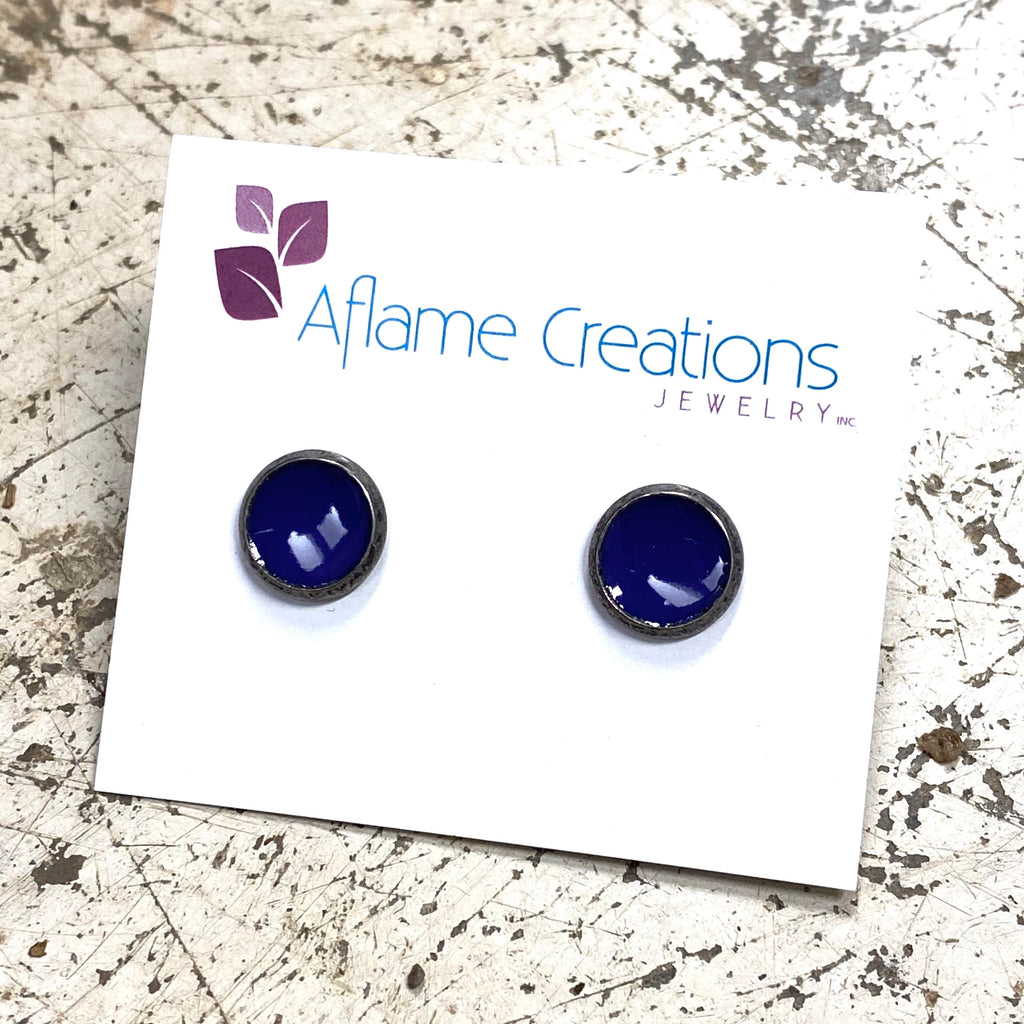 Tiny Circle Stud Earrings in Royal