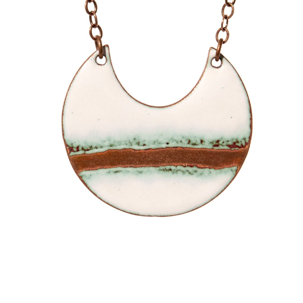Seafoam Crescent Necklace in White & Polished Copper