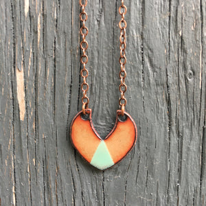 Triad Shield Necklace in Copper & Aqua