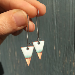Triangle Drop Earrings in White & Polished Copper