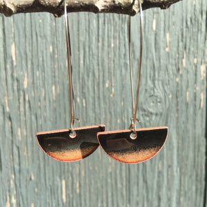 Half-moon Drop Earrings in Black & Copper