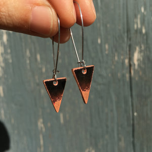 Triangle Drop Earrings in Black & Polished Copper