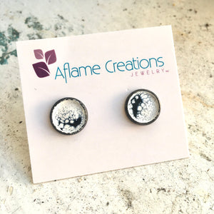 Half-moon Stud Earrings in White & Black
