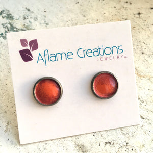 Half-moon Stud Earrings in Red & Pumpkin