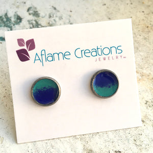 Half-moon Stud Earrings in Royal & Teal