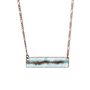 Seafoam Bar Necklace in White & Polished Copper