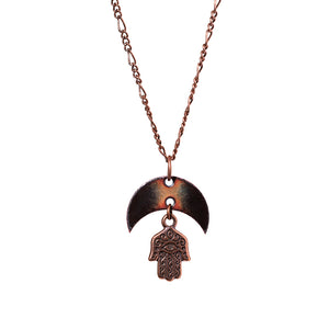 Crescent Moon & Hamsa Necklace in Black & Shimmering Copper