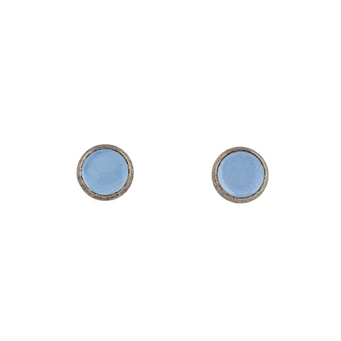 Tiny Circle Stud Earrings in Sky Blue