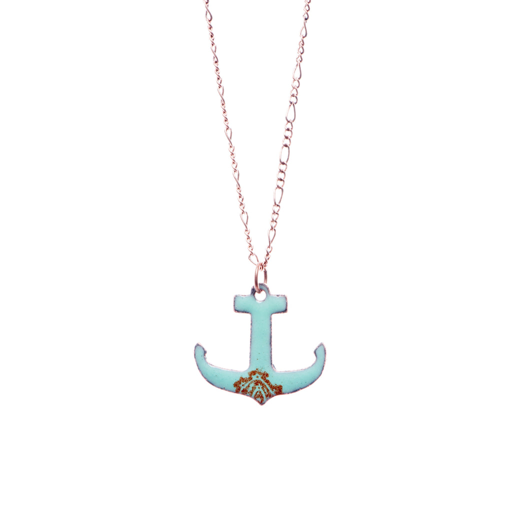 Anchor Necklace in Seafoam & Earth