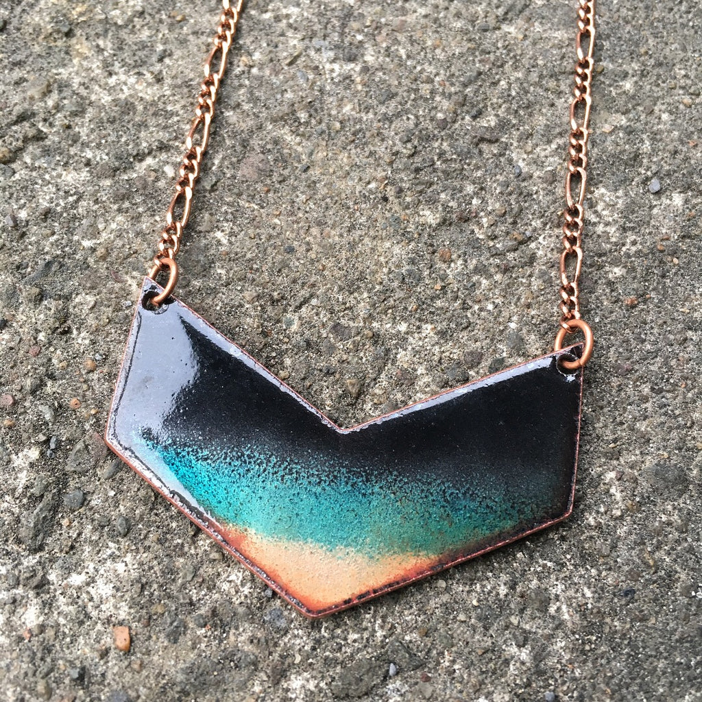 Midnight Waters Chevron Necklace in Black & Shimmering Turquoise/Copper