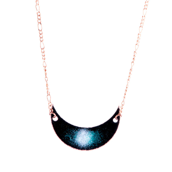 Galaxy Crescent Moon Necklace in Black & White