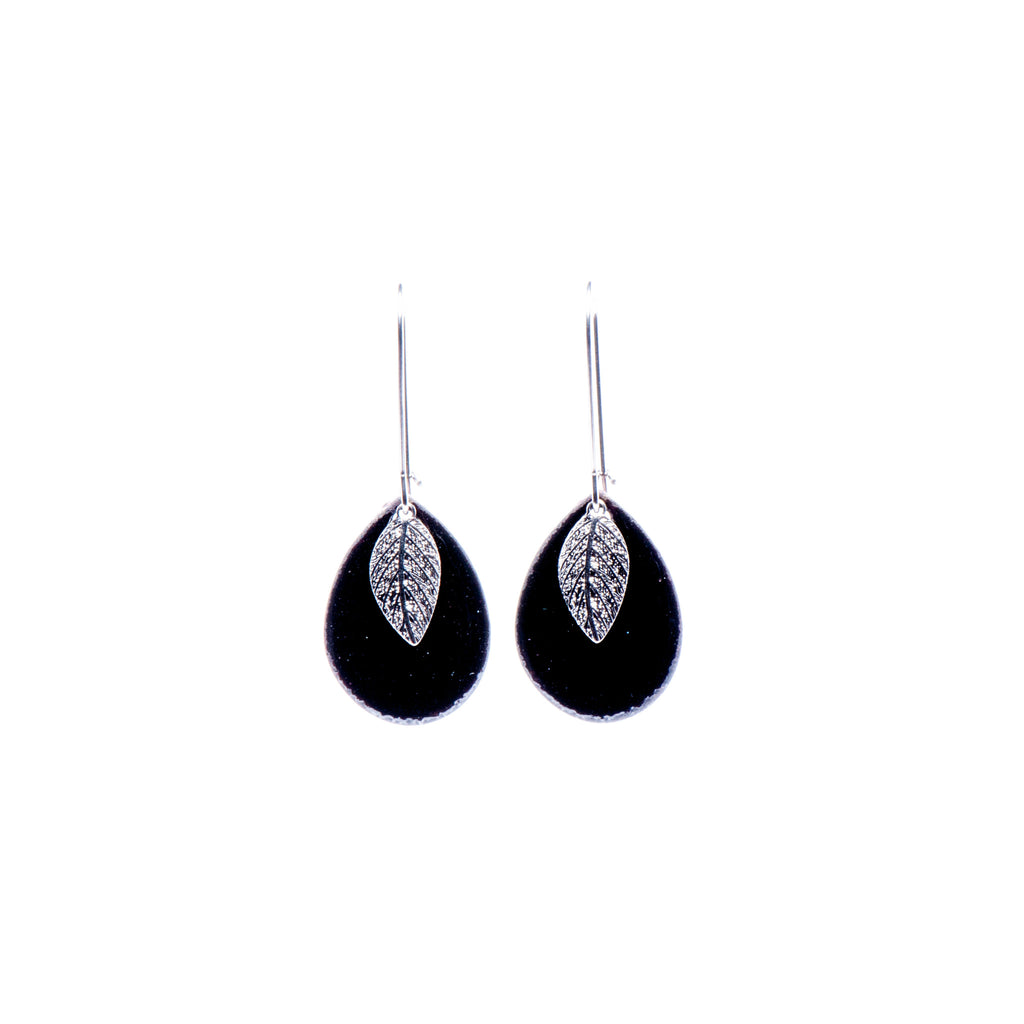 Leaf Teardrop Earrings in Black