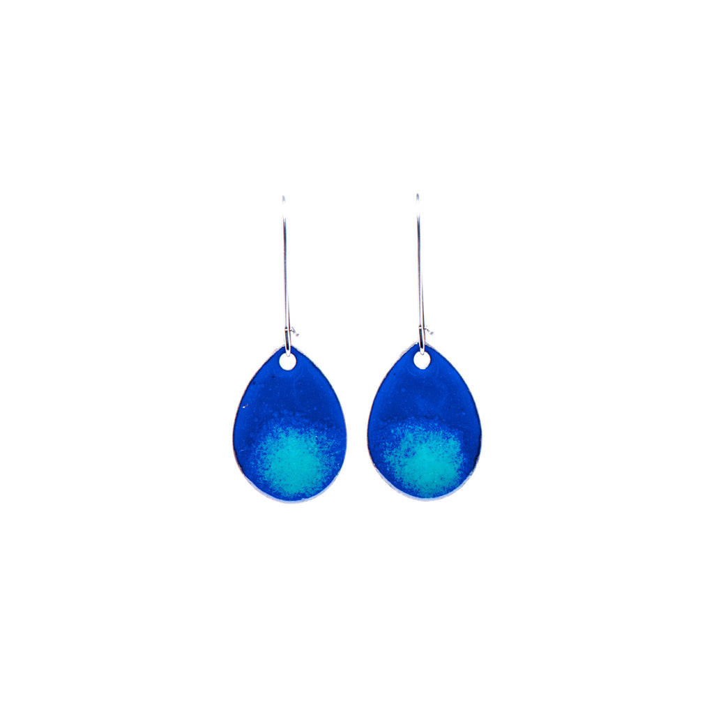 Ombré Teardrop Earrings in Royal & Teal