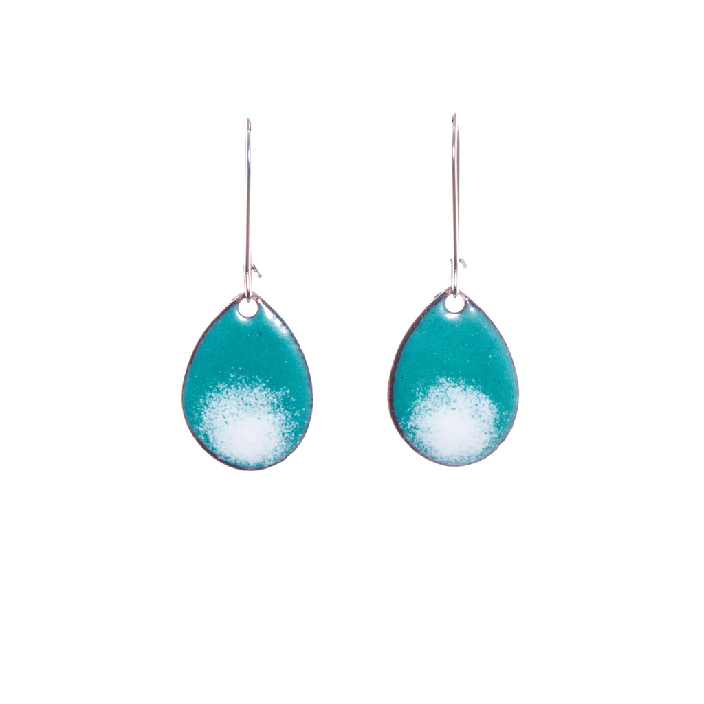 Ombré Teardrop Earrings in Teal & White