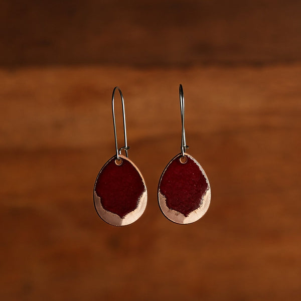 Burgundy & Polished Copper Petal Earrings
