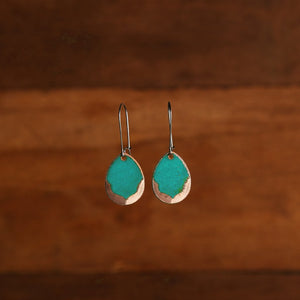 Petal Earrings in Teal & Polished Copper