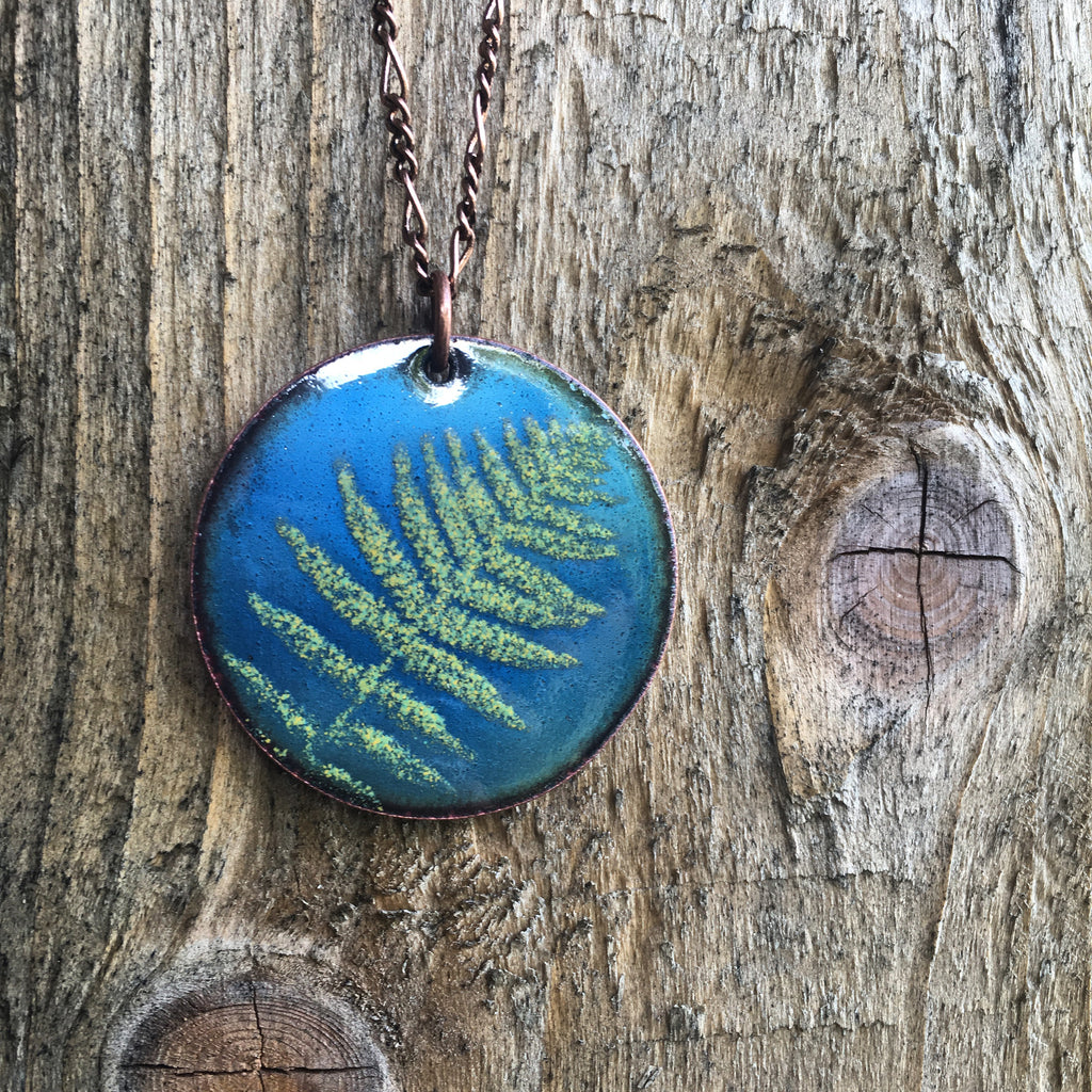Fern Necklace in Shimmering Blue & Spring Green