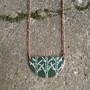 Forest Half-moon Necklace in Alpine Green & White