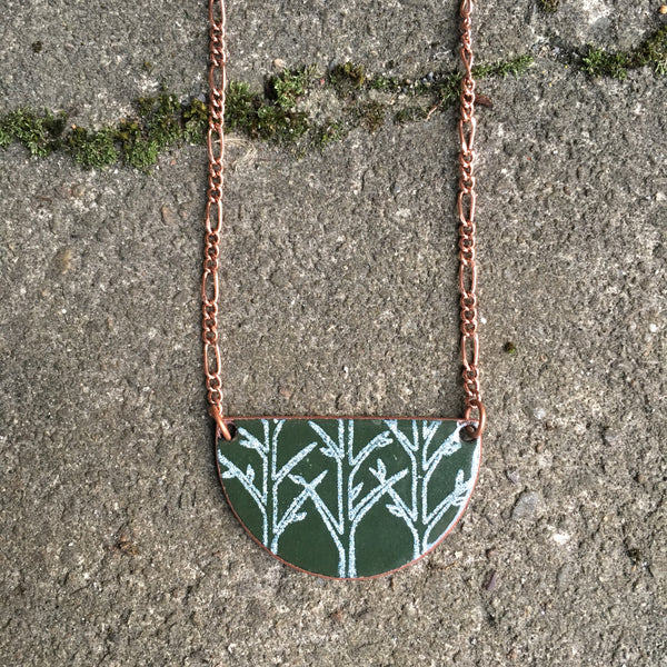 Forest Half-moon Necklace in Hunter Green & White