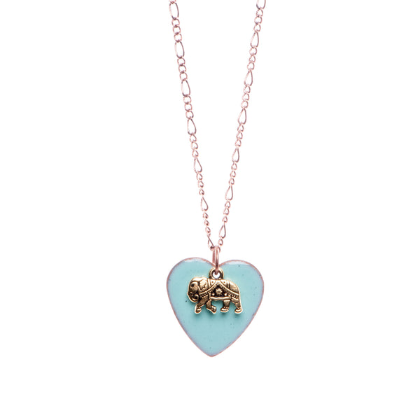 Heart & Elephant Necklace in Aqua