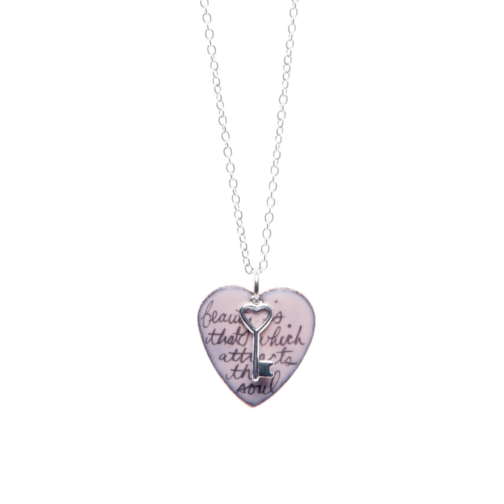 Poem & Key Heart Necklace in Pink