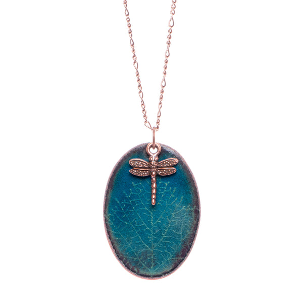 Leaf Vein & Dragonfly Necklace in Shimmering Water Blue & Spring Green