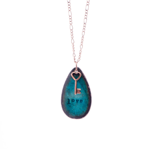 """Love"" & Key Necklace in Shimmering Turquoise"