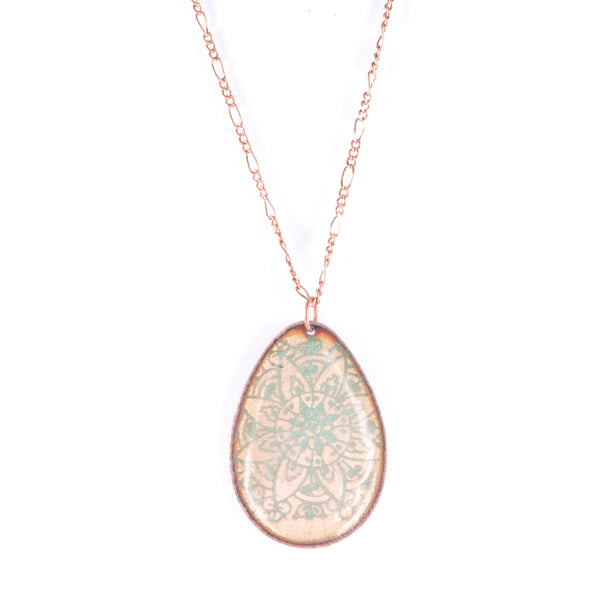 Mandala Necklace in Shimmering Copper & Teal