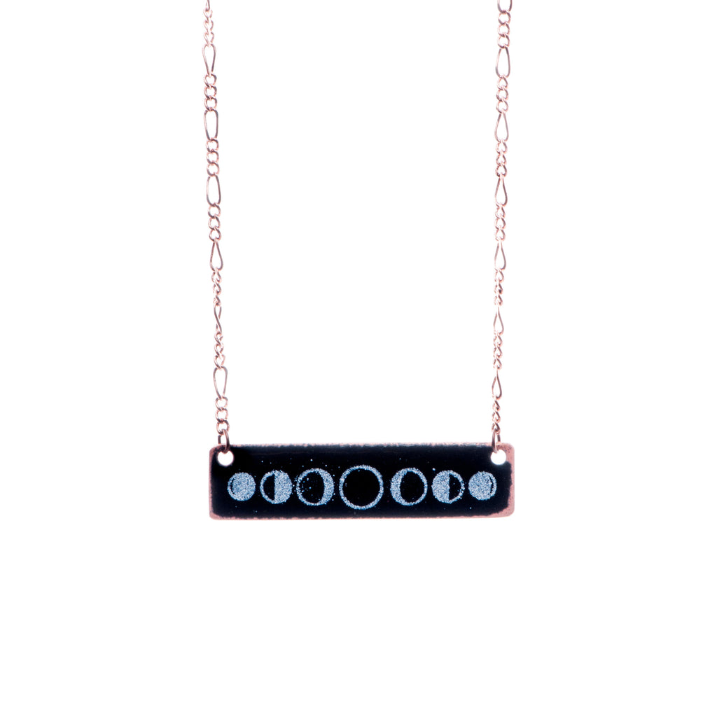 Moon Phase Necklace in Black & White