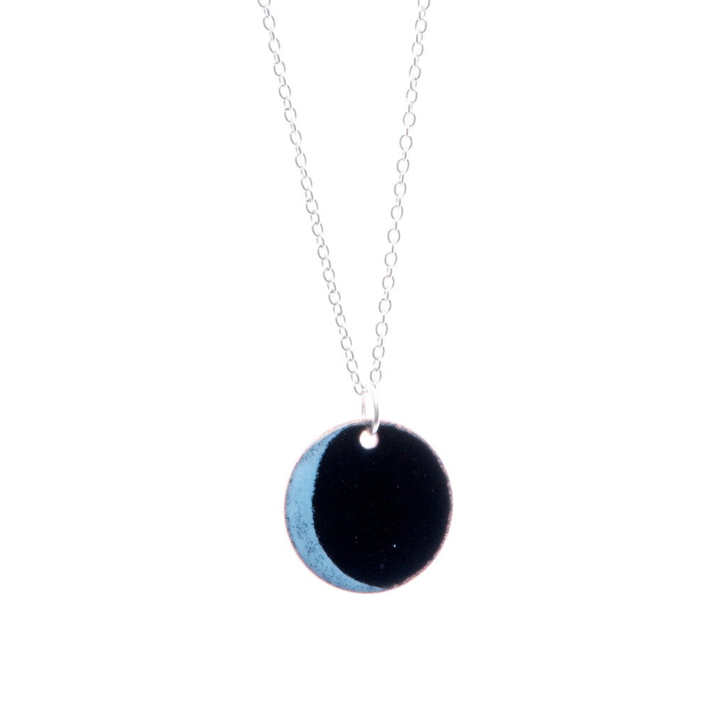 New Moon Necklace in Black & Sky Blue