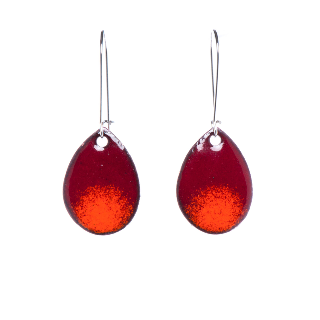 Ombré Teardrop Earrings in Burgundy & Orange