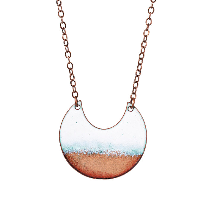 Horizon Crescent Necklace in White & Shimmering Copper