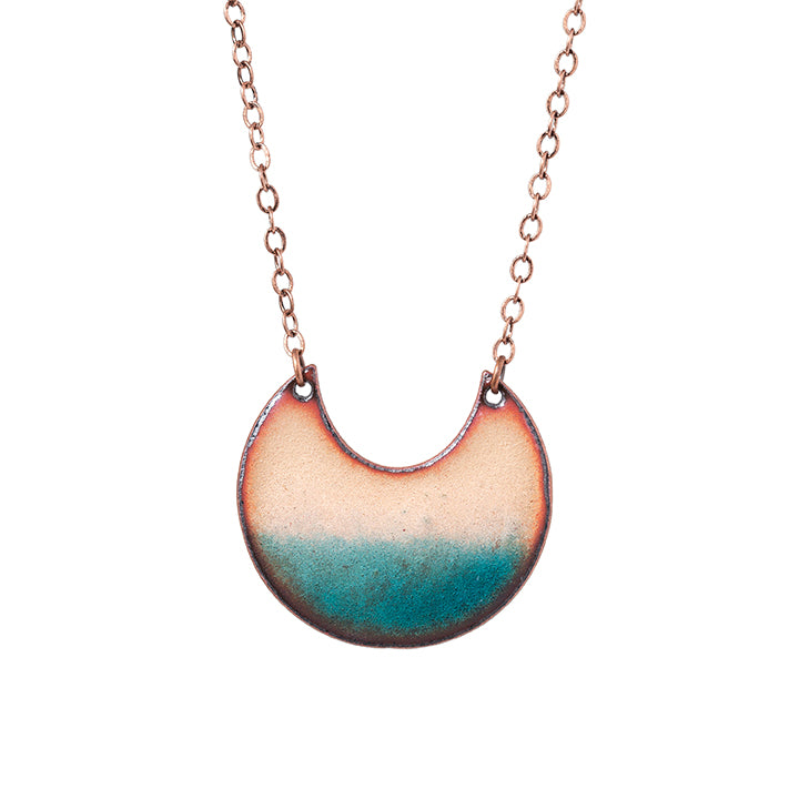 Horizon Crescent Necklace in Shimmering Copper & Turquoise