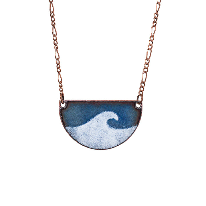 Wave Half-moon Necklace in Shimmering Blue & White