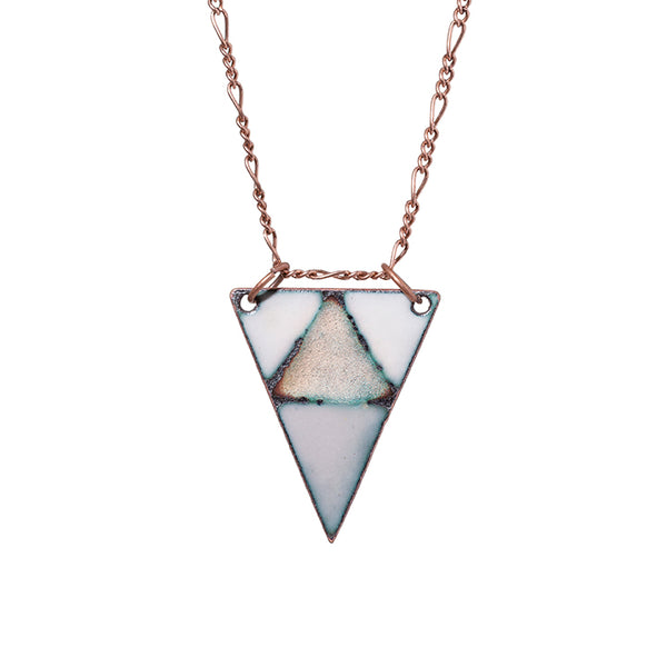 Mountain Triangle Necklace in Ivory, Warm Grey & Shimmering Copper