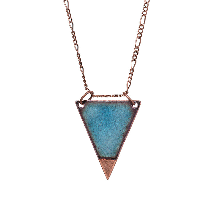 Dipped Triangle Necklace in Shimmering Water Blue & Polished Copper