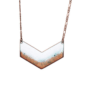 Seafoam Chevron Necklace in White & Shimmering Copper
