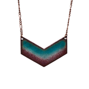 Twilight Chevron Necklace in Shimmering Turquoise & Plum