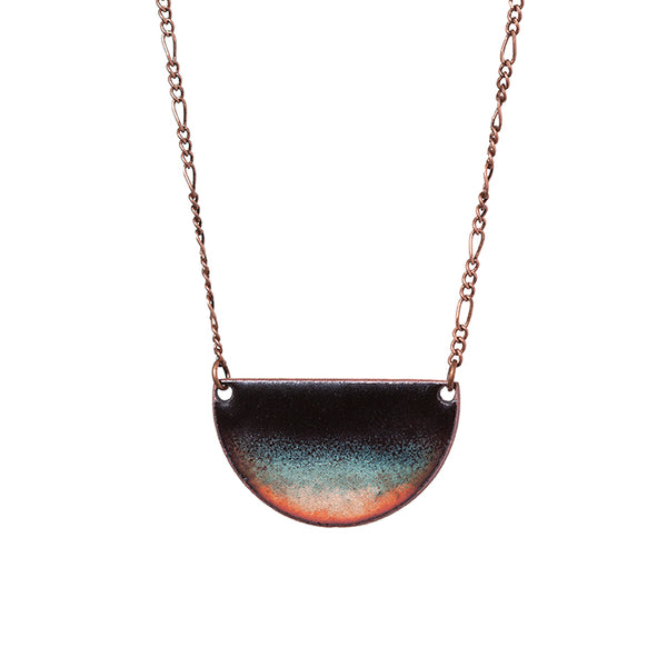 Midnight Waters Half-moon Necklace in Black & Shimmering Aqua/Copper