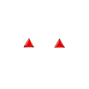 Tiny Triangle Stud Earrings in Red