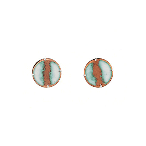 Seafoam Stud Earrings in White & Polished Copper