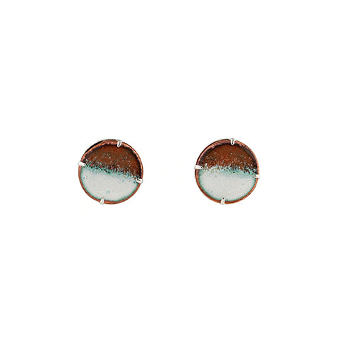 Half-moon Stud Earrings in White & Shimmering Copper