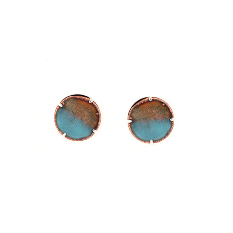 Halfmoon Stud Earrings in Aqua & Shimmering Copper