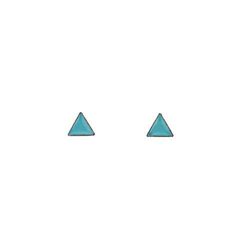 Tiny Triangle Stud Earrings in Teal
