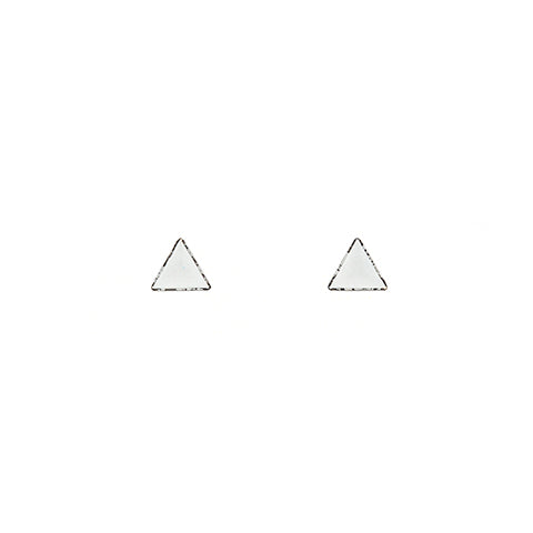 Tiny Triangle Stud Earrings in White