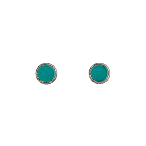 Tiny Circle Stud Earrings in Teal