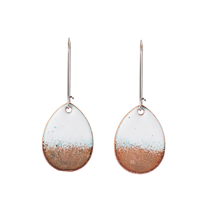 Horizon Teardrop Earrings in White & Shimmering Copper