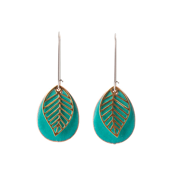 Leaf Teardrop Earrings in Teal