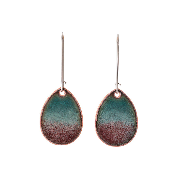 Horizon Teardrop Earrings in Shimmering Turquoise & Plum
