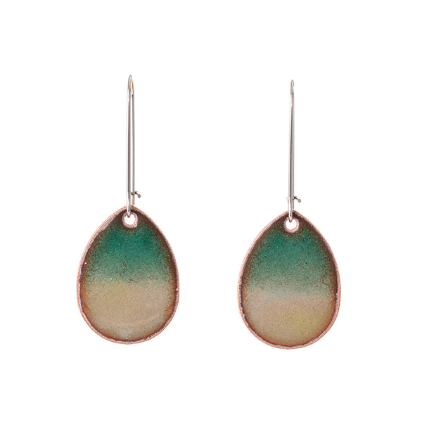 Horizon Teardrop Earrings in Shimmering Greens